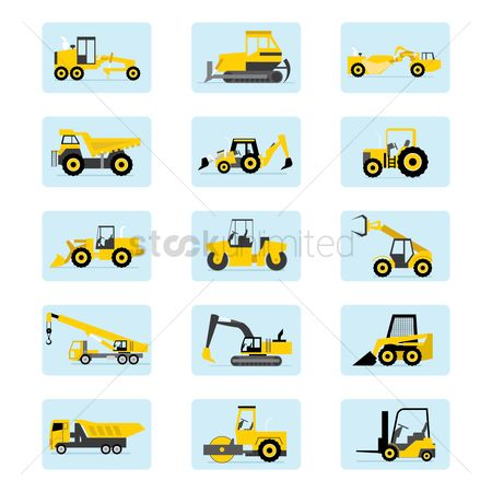 Roller : Set of heavy vehicle icons