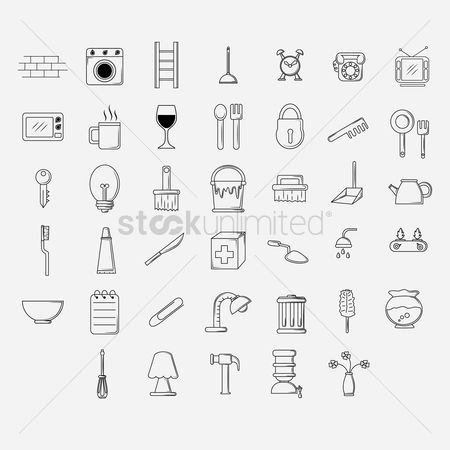 Brick : Set of home appliance icons