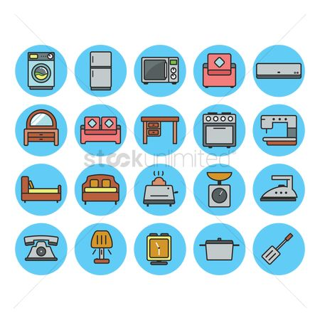 Time : Set of home appliances icons