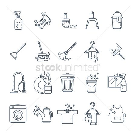 Cleaner : Set of household equipment icons