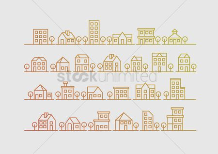 Architectures : Set of houses and buildings