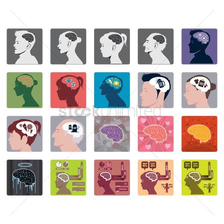 Footballs : Set of human brain icons