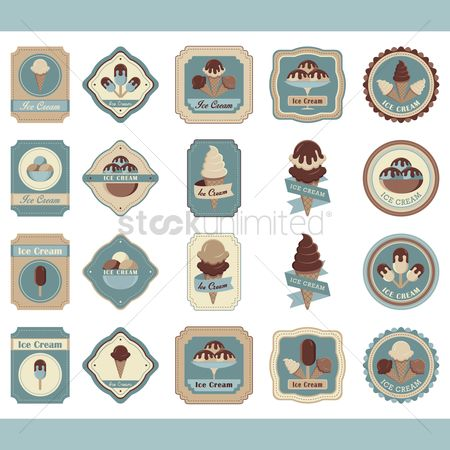 Cones : Set of ice cream labels