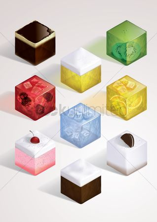 Beverage : Set of isometric beverages