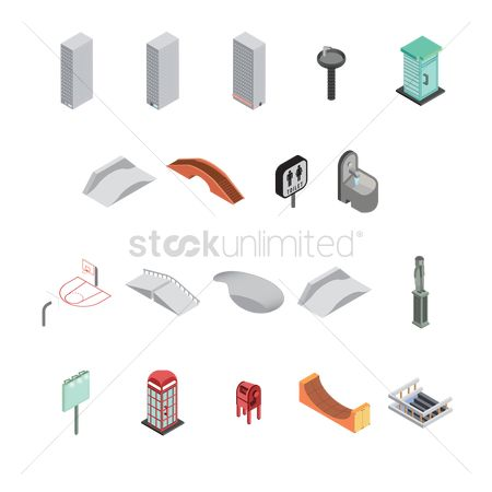Office  building : Set of isometric icons