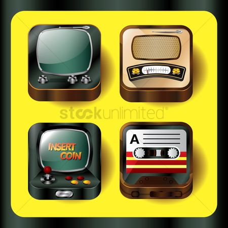 Reels : Set of isometric retro entertainment icons