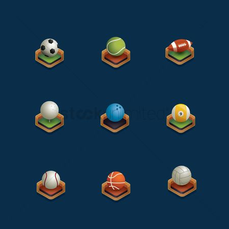Baseball : Set of isometric sports ball