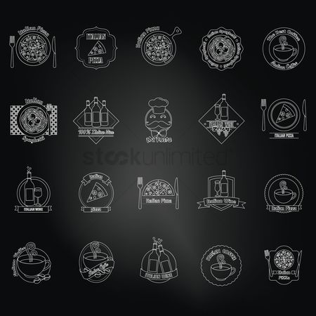 Junk food : Set of italian icons over black background