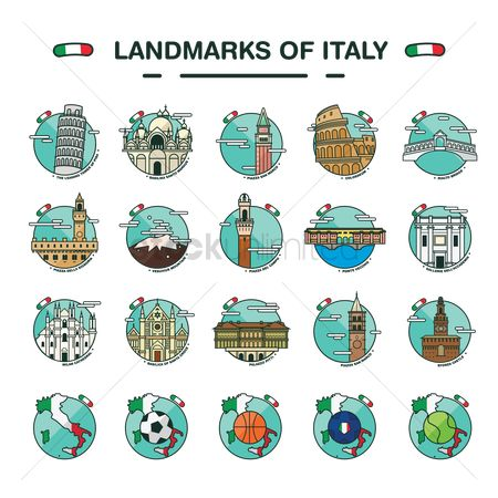 Soccer : Set of italy landmarks