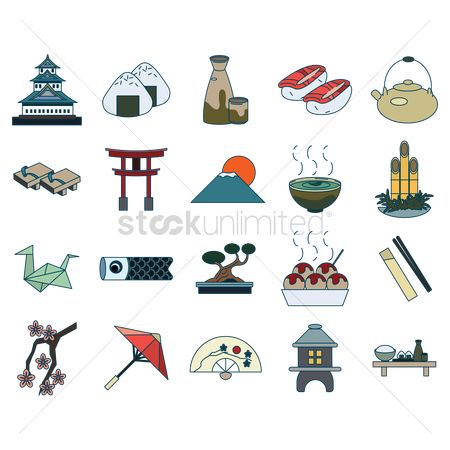 Japanese cuisines : Set of japan icons