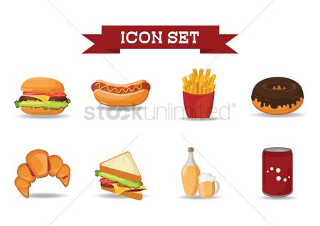 French fries : Set of junk food icons