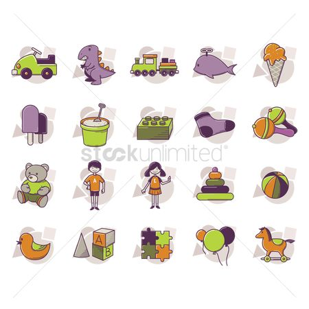 Teddybear : Set of kids icon