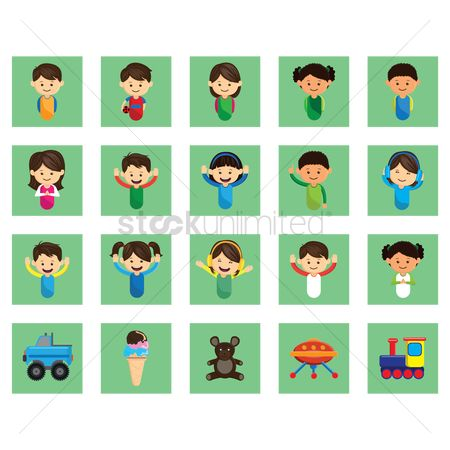 Boys : Set of kids icon