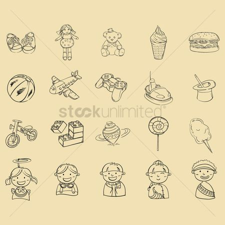Teddybear : Set of kids icons