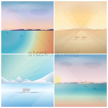 Seashore : Set of landscape wallpaper