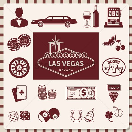 Poker chips : Set of las vegas icons