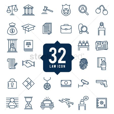 Magnifying : Set of law icons