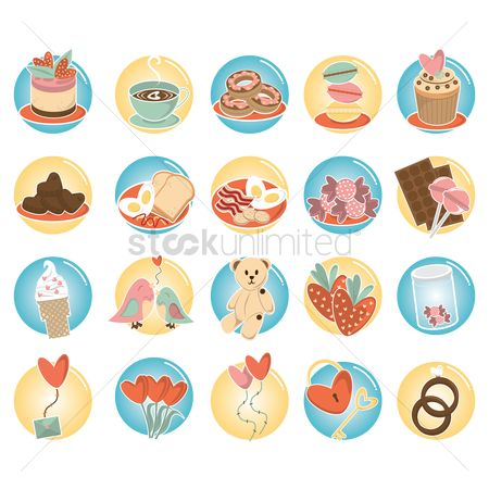 Cookie : Set of love icons