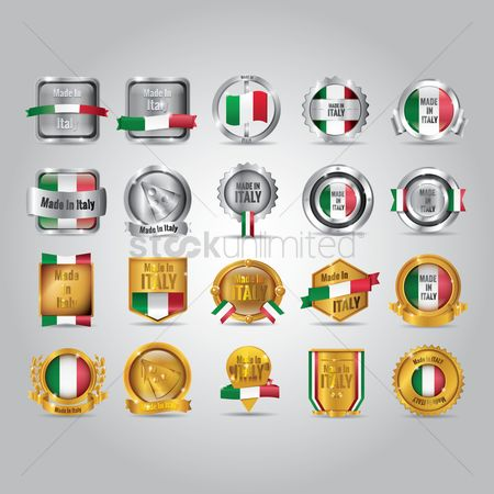 Patriotic : Set of made in italy badges