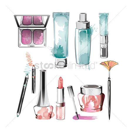 Brushes : Set of makeup items