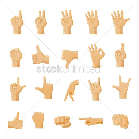 Digits : Set of man hand signs