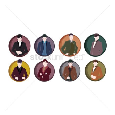 Man suit fashion : Set of man in suit icons