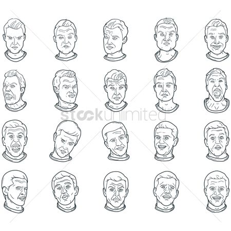 Annoy : Set of man with facial expressions