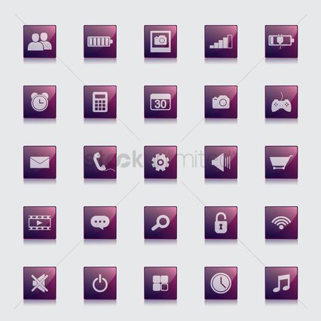 Charging icon : Set of media icons