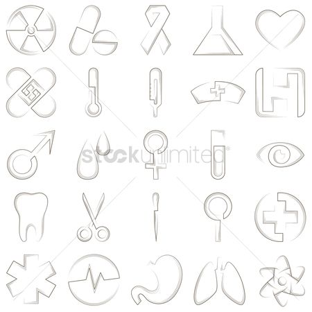 Cardiogram : Set of medical icons