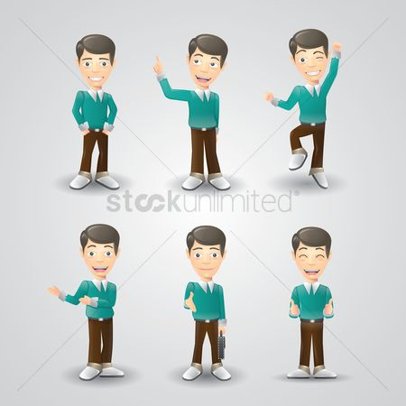 Smart : Set of men with various expressions
