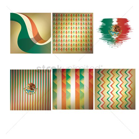 Zig zag : Set of mexico flag backgrounds