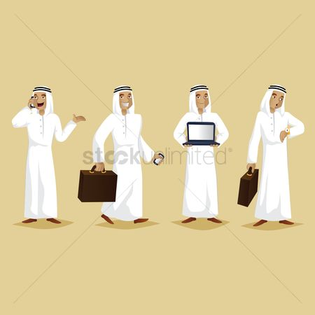 Businesspeople : Set of middle eastern businessman icons