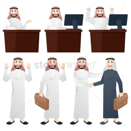 Business deal : Set of middle eastern businessman icons