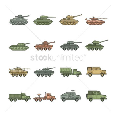 Tanks : Set of military vehicle icons