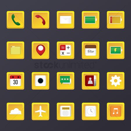 Charging icon : Set of mobile application icons