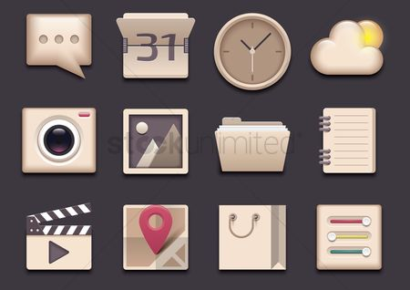 Cinema : Set of mobile application icons