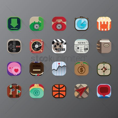 Ebooks : Set of mobile application icons