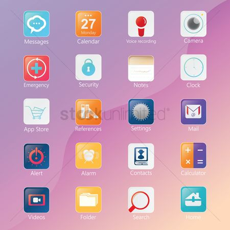Calculations : Set of mobile application icons