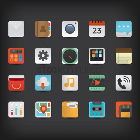Voice recorder : Set of mobile application icons