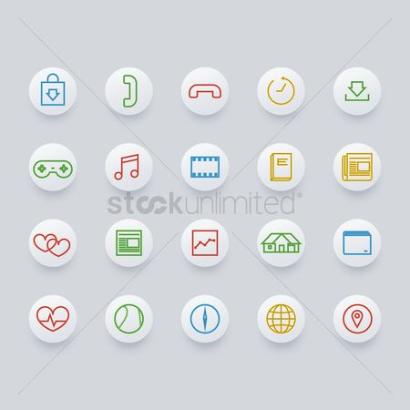 Credits : Set of mobile icons