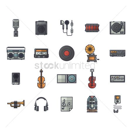 Vintage : Set of music icons