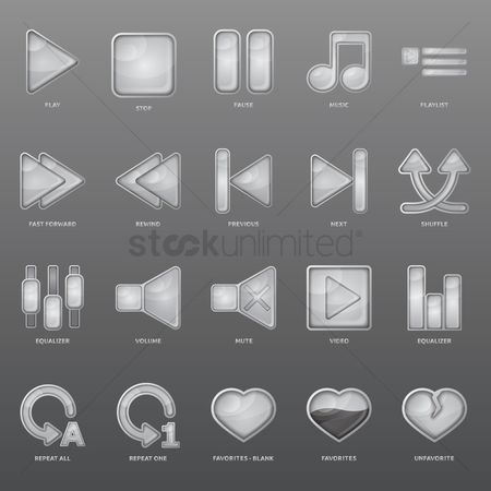 Minus : Set of music player icons
