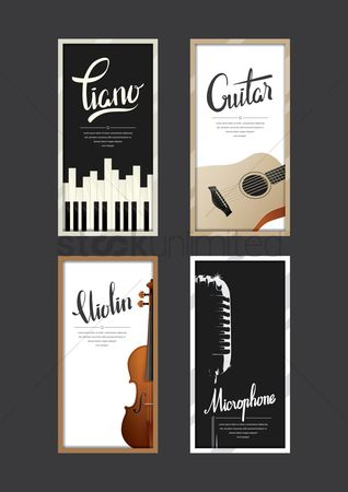 Microphones : Set of musical instruments posters