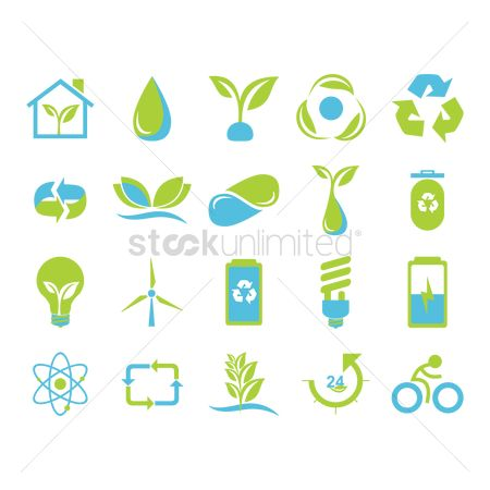 Recycle bin : Set of nature icons