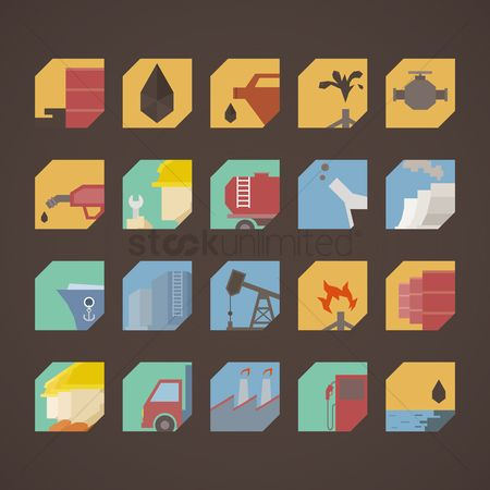 Repairman : Set of oil and gas icons