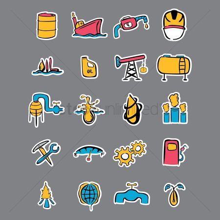 Spanner : Set of oil and gas icons