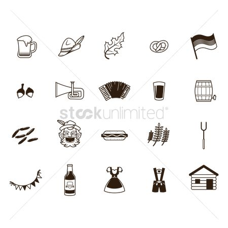 Sausage : Set of oktoberfest icons