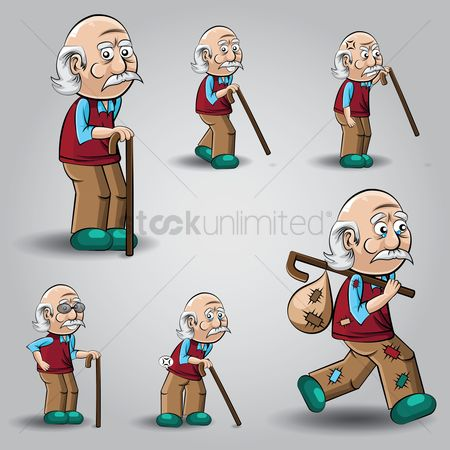 Sack : Set of old man with stick