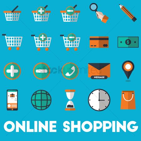 Call : Set of online shopping icons