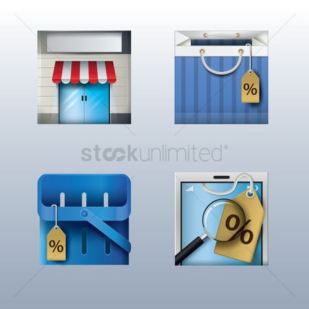 Awning : Set of online shopping icons